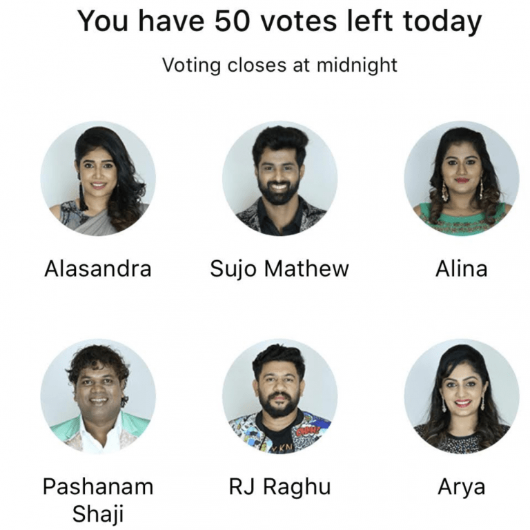 Bigg Boss Malayalam 2 Vote Week 11 - Total 8 contestants have been nominated to be evicted this week