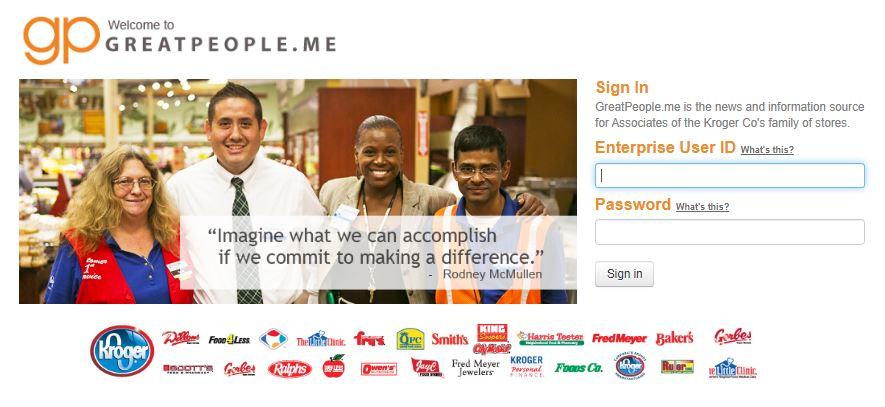 Greatpeople.me Kroger Employee Login Website at www.greatpeople.me