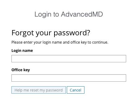 AdvancedMD patient portal password reset page