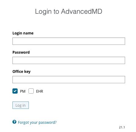 AdvancedMD Patient Portal login page