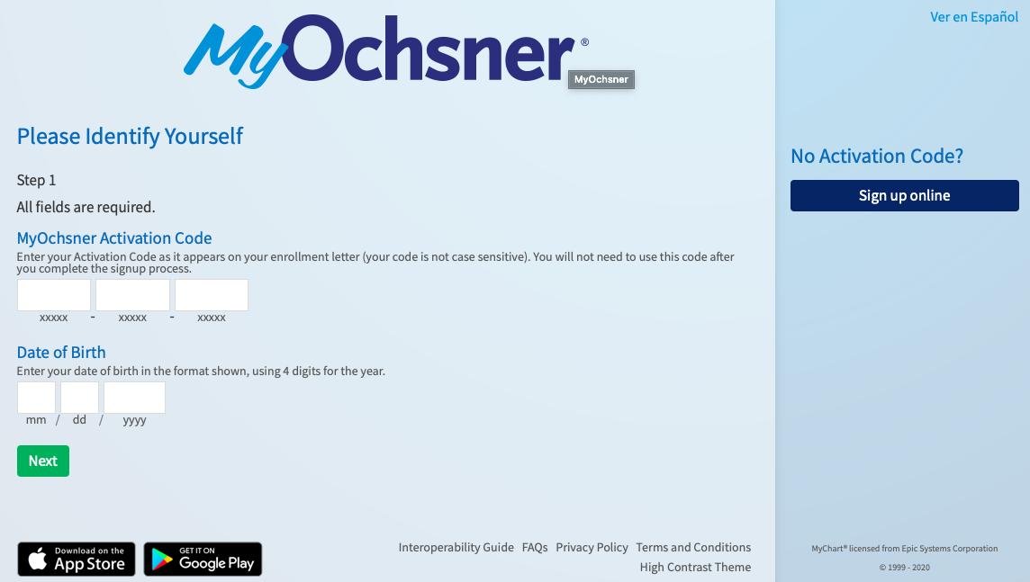 MyOchsner registration with an activation code
