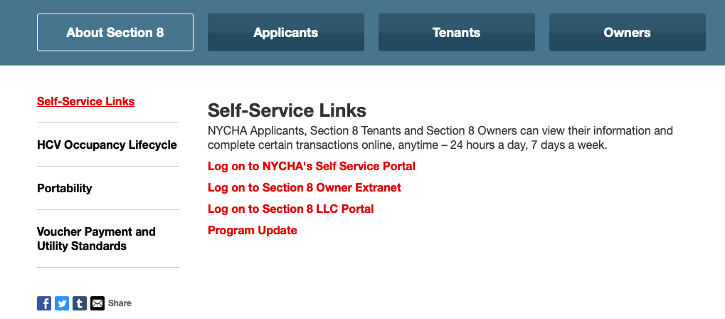 NYCHA Self-Service portal link page