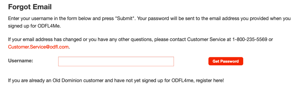 ODLF4me password recover page