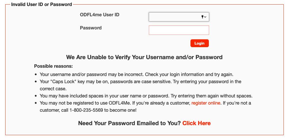 ODFL4me password reset page
