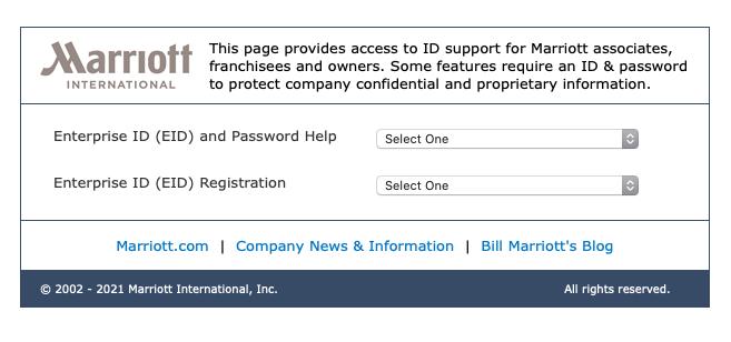 Owa Marriott Login password reset process