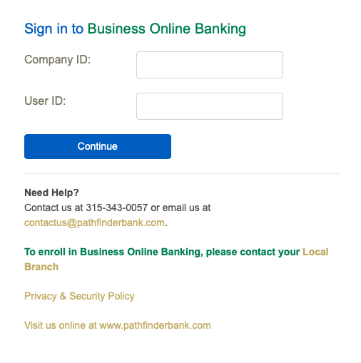Pathfinder Bank business account sign in