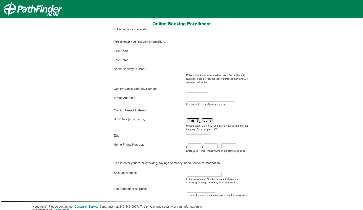 Pathfinder Bank personal account enrolment
