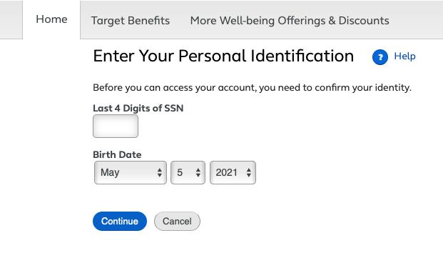 TargetPayandBenefits Identity Confirmation page