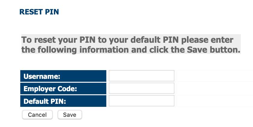 USPayserv pin reset page