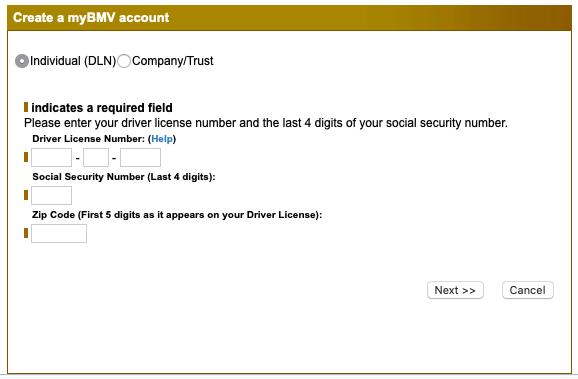 myBMV Indiana new account registration