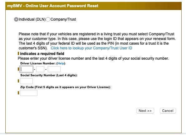 myBMV Indiana login password reset page