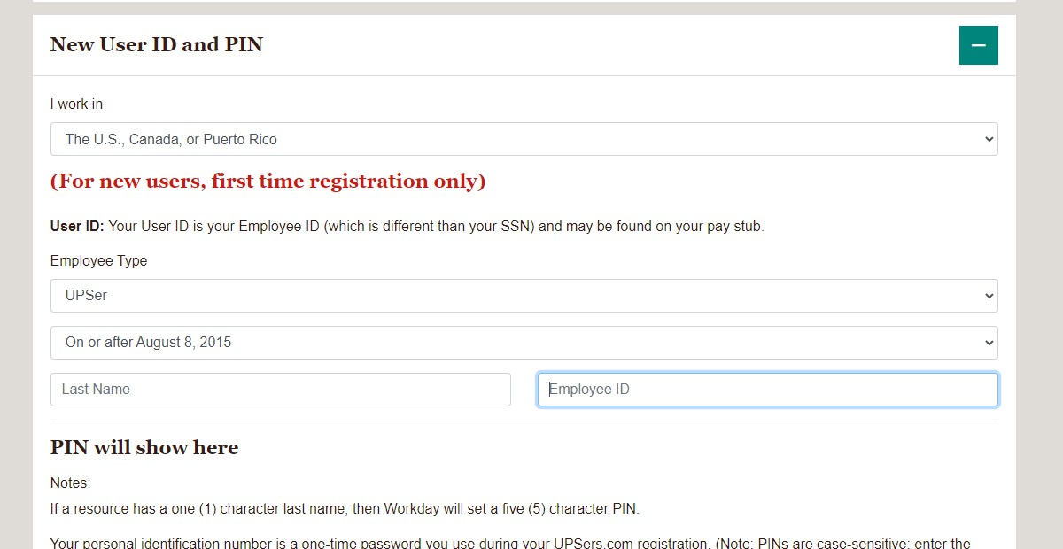 UPSers Employee Login at www.upsers.com - Register User ID & PIN