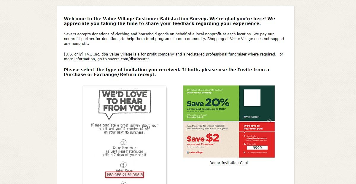 Value Village Listen Survey at www.ValueVillageListens.com