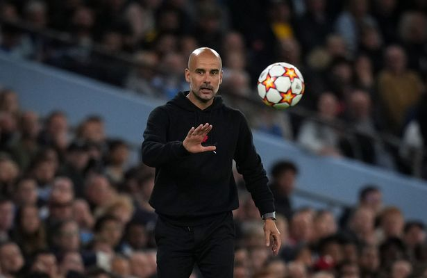 Man City manager Josep 'Pep' Guardiola during the UEFA Champions League group match between Manchester City and RB Leipzig at the Etihad Stadium, Manchester, England on 15 September 2021