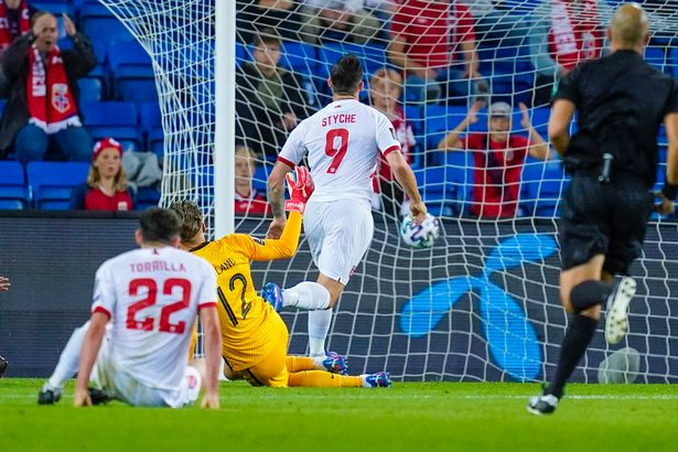 Gibraltar's forward Reece Styche scores the 3-1 goal during the FIFA World Cup Qatar 2022 qualification Group G football match between Norway and Gibraltar in Oslo, on September 7, 2021. - Norway OUT