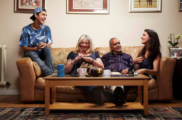 Image of the Micahel family regulars on Gogglebox