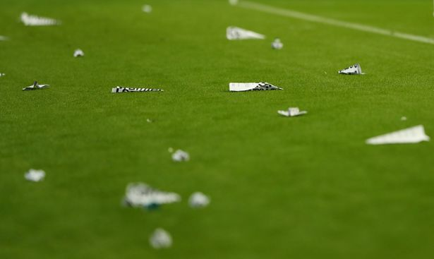 Newcastle United v Leeds United - St James' Park, Newcastle, Britain - September 17, 2021 Banners thrown onto the pitch by fans