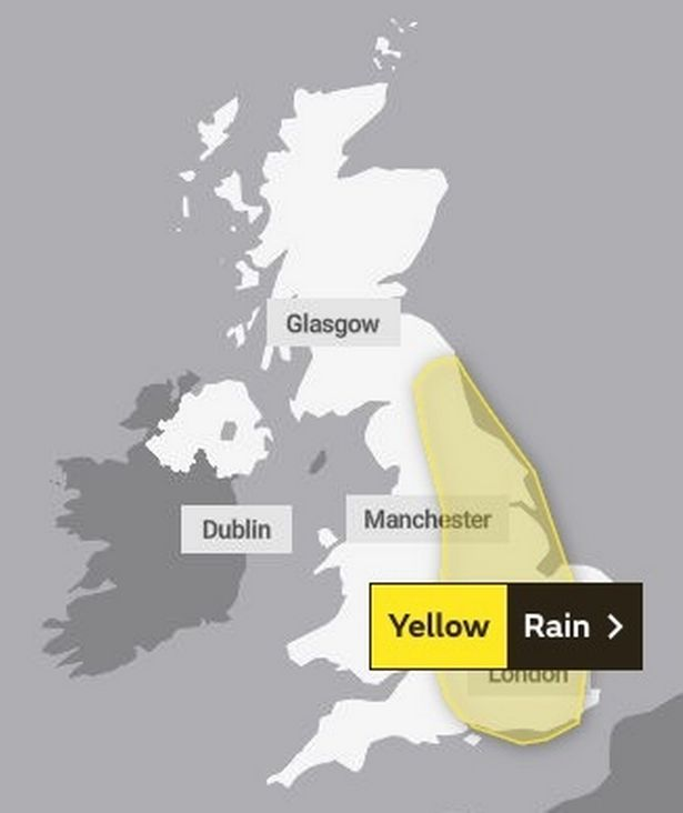 Most of England is included in the large weather warning from the Met Office