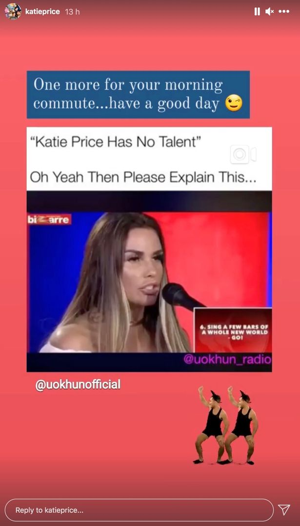 Katie Price shares hilarious singing clip to hit back at claims that she has 'no talent'