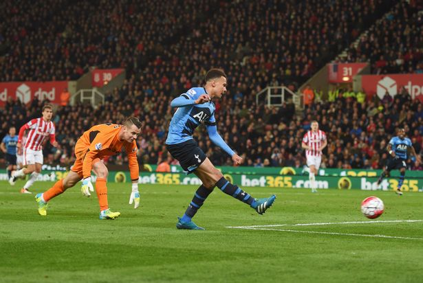 Dele Alli's shot crashed against the post after he did the hard work by rounding Shay Given