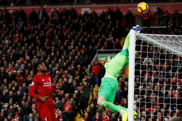 Divock Origi couldn't believe his luck when Jordan Pickford kept the ball in play for him