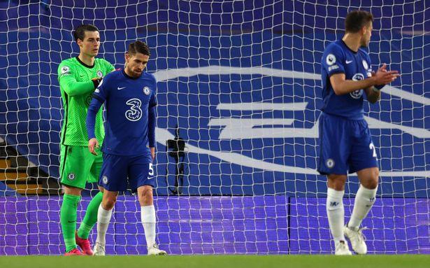Kepa Arrizabalaga and Jorginho were aghast after the latter's backpass led to an Arsenal goal