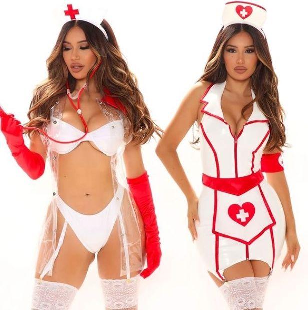 Model wears Fashion Nova nurse outfits