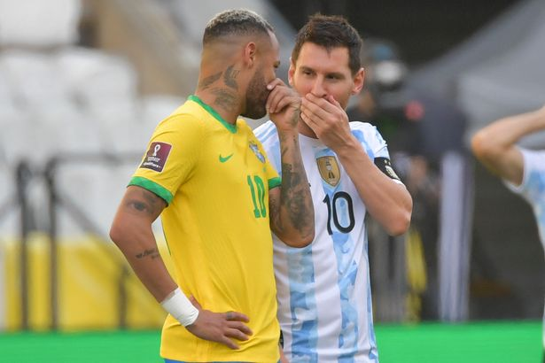 Lionel Messi and Neymar chat during Argentina vs Brazil