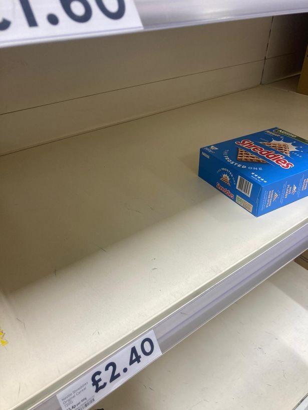 Empty shelves in Tesco