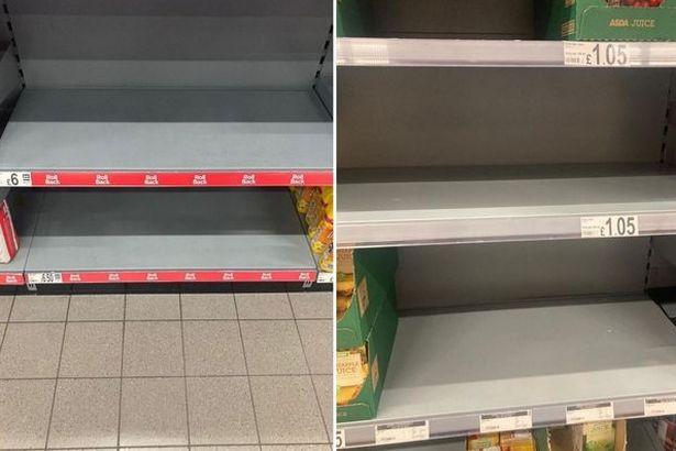 Empty shelves in Asda