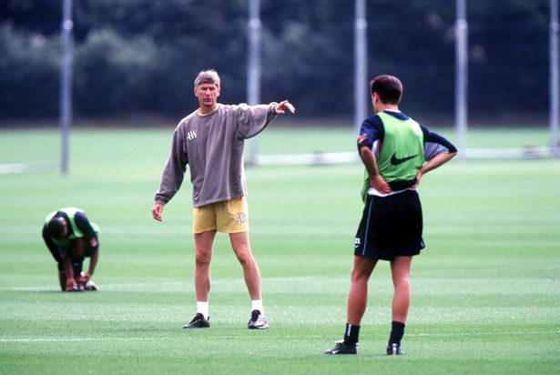 Arsene Wenger seen during Arsenal Training at the Arsenal Training Ground in London Colney, London.