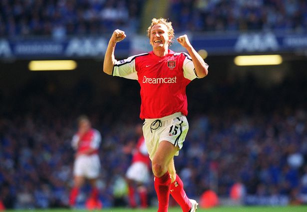 Ray Parlour celebrates scoring Arsenal's 2nd goal during the FA Cup Final match between Arsenal and Chelsea on May 4, 2002 in Cardiff, Wales.