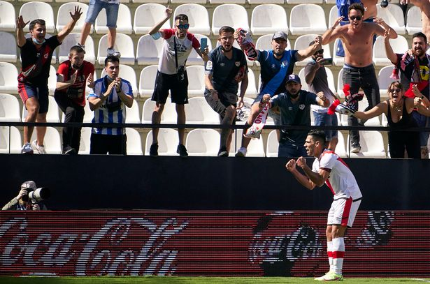 Radamel Falcao of Rayo Vallecano celebrates after scoring his team's third goal during the La Liga Santander match between Rayo Vallecano and Getafe CF at Campo de Futbol de Vallecas on September 18, 2021 in Madrid, Spain.