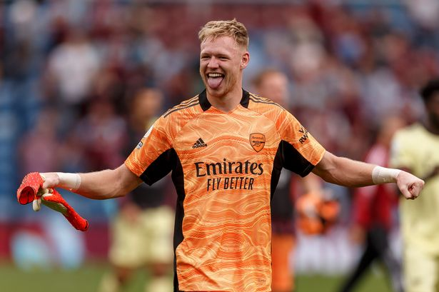 Aaron Ramsdale of Arsenal celebrates after the Premier League match between Burnley and Arsenall