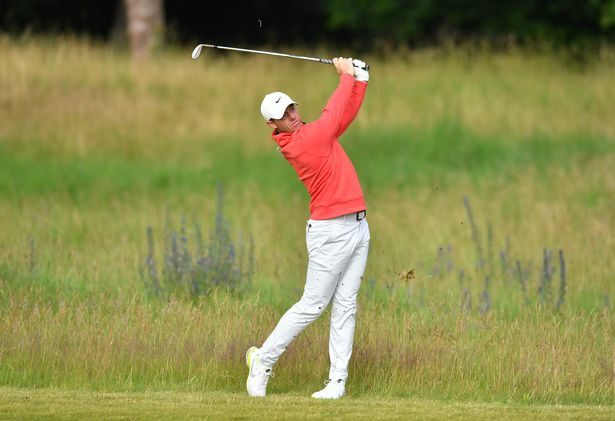 Rory McIlroy of Northern Ireland plays his second shot on the 11th hole during Day Two of the abrdn Scottish Open at The Renaissance Club