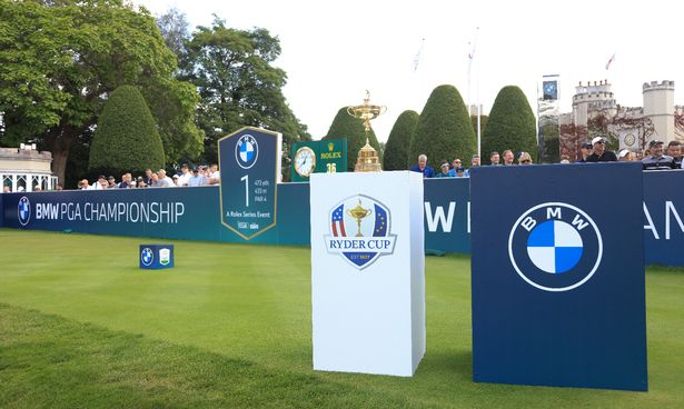 The Ryder Cup and BMW PGA Championship trophy pictured on the first hole during Day Four of The BMW PGA Championship at Wentworth Golf Club on September 12, 2021 in Virginia Water, England.