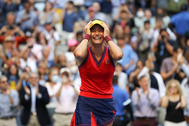mma Raducanu of Great Britain celebrates winning match point to defeat Leylah Annie Fernandez of Canada during the second set of their Women's Singles final match on Day Thirteen of the 2021 US Open at the USTA Billie Jean King National Tennis Center on September 11, 2021 in the Flushing neighborhood of the Queens borough of New York City.