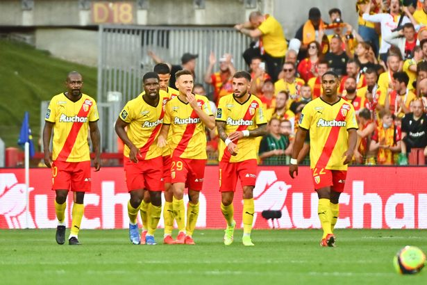 Przemyslaw FRANKOWSKI of Rc Lens celebrates a goal with his team mates during the Ligue 1 Uber Eats match between Lens and Lille at Stade Bollaert-Delelis on September 18, 2021 in Lens, France.