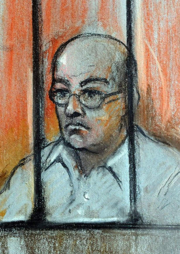 A court sketch of the convicted killer at his parole hearing in June