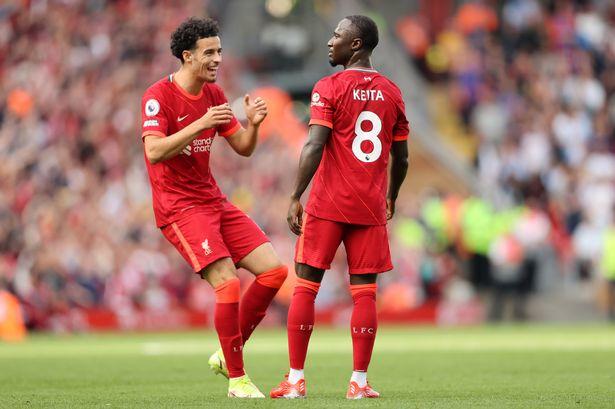 Naby Keita copied Eric Cantona's goal celebration after stunning Liverpool team-mates