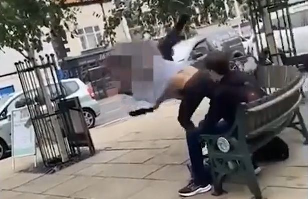 After the man threatens to stab him, Alex Williams uses his jiu-jitsu skills to send the man flying through the air and onto the floor.