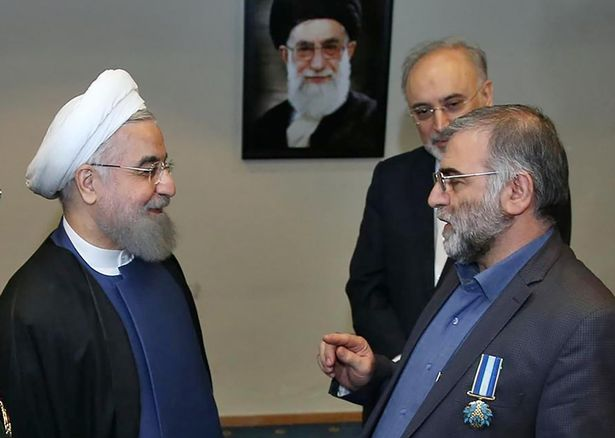 Fakhrizahed (right) with Iranian president Hassan Rouhani