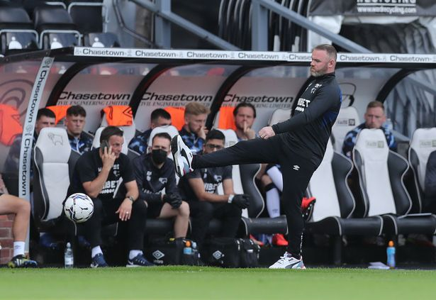 Derby manager Wayne Rooney during the Sky Bet Championship match between Derby County and Stoke City at Pride Park Stadium on September 18, 2021 in Derby, England.
