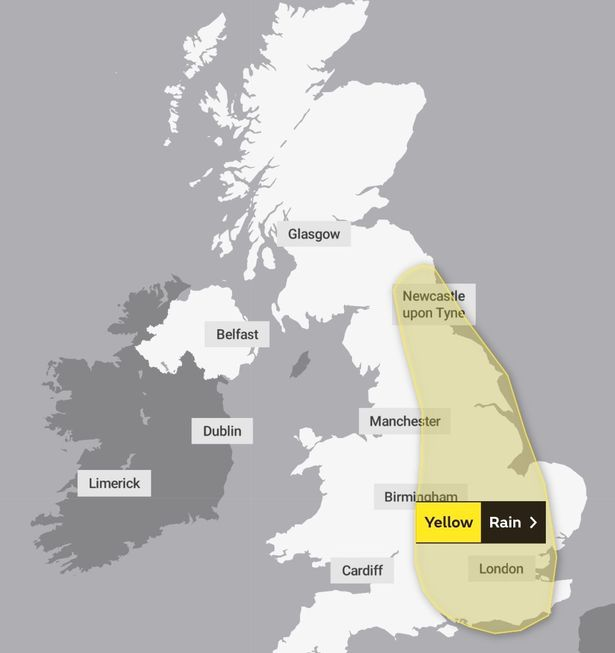 Millions of Brits are expected to see heavy downpours today with a large alert in place