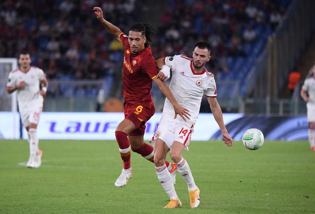 Chris Smalling in action for Roma against CSKA Sofia in the Europa Conference on Thursday