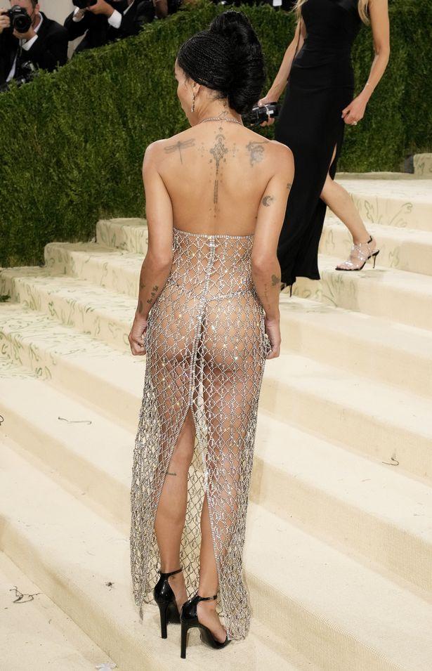 Zoë Kravitz in a see through embellished dress at the 2021 Met Gala