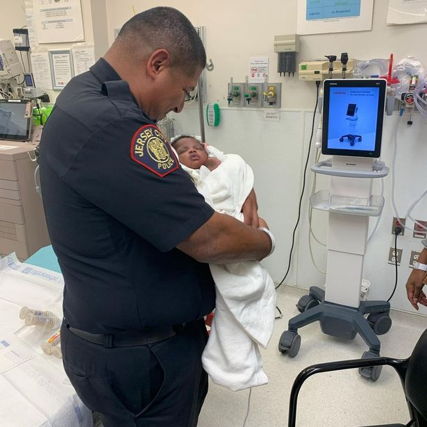 Officer Matute later visited the very lucky baby in hospital
