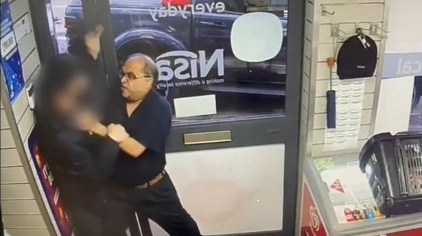 Owner Dharmendra Patel pinned the thief to the wall but he ran away when his friends showed up