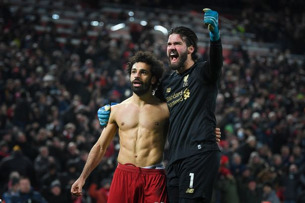 Mohamed Salah removed his shirt after scoring against Manchester United in 2020