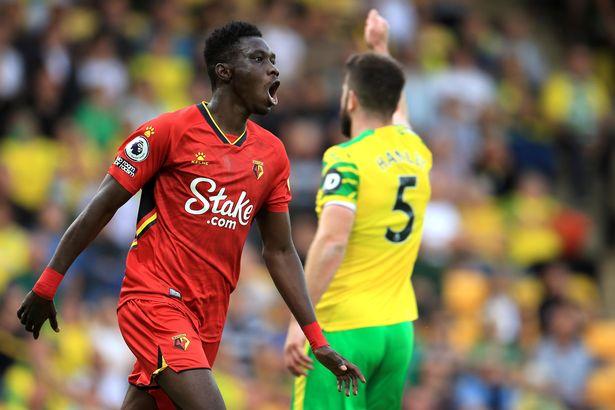 Ismaila Sarr celebrates after scoring Watford's third goal against Norwich